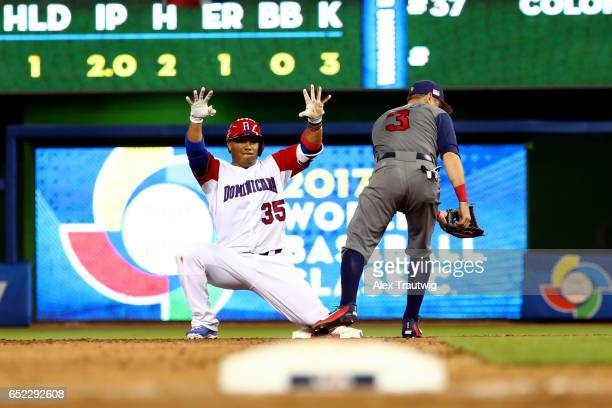 Welington Castillo of Team Dominican Republic reacts to hitting an RBI double in the seventh inning during Game 4 Pool C of the 2017 World Baseball...