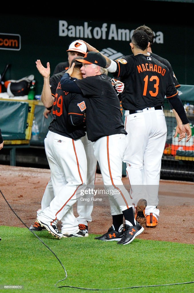 Welington Castillo #29 of the Baltimore Orioles celebrates with manager Buck Showalter #26 after hitting the game winning home run in the 10th inning against the Toronto Blue Jays at Oriole Park at Camden Yards on May 19, 2017 in Baltimore, Maryland. Baltimore won the game 5-3.