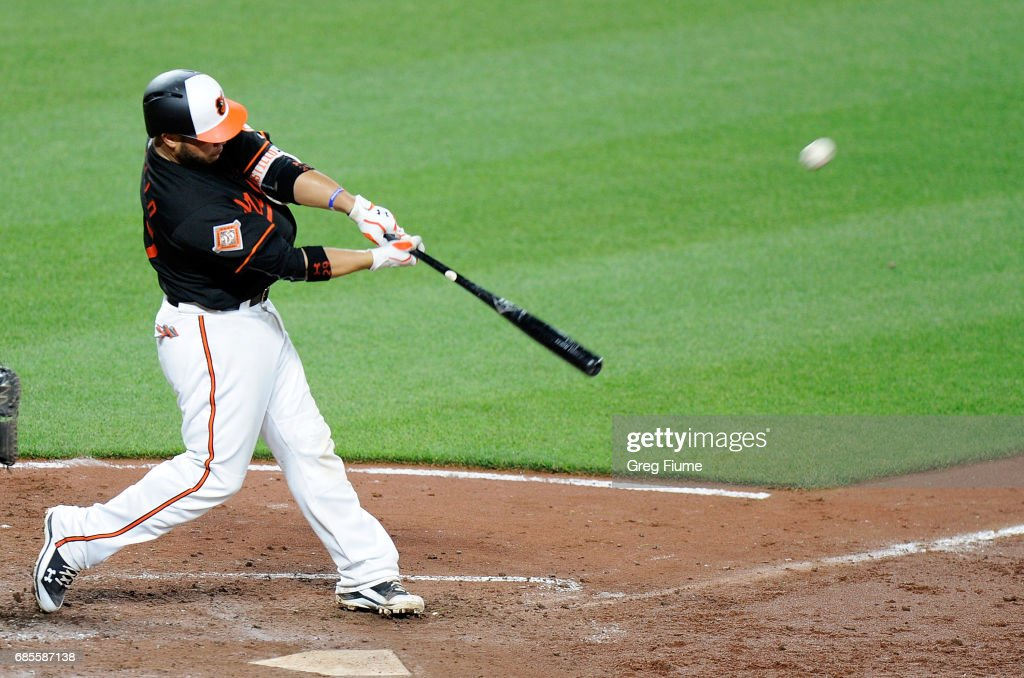 Welington Castillo #29 of the Baltimore Orioles hits a two-run home run in the sixth inning against the Toronto Blue Jays at Oriole Park at Camden Yards on May 19, 2017 in Baltimore, Maryland.