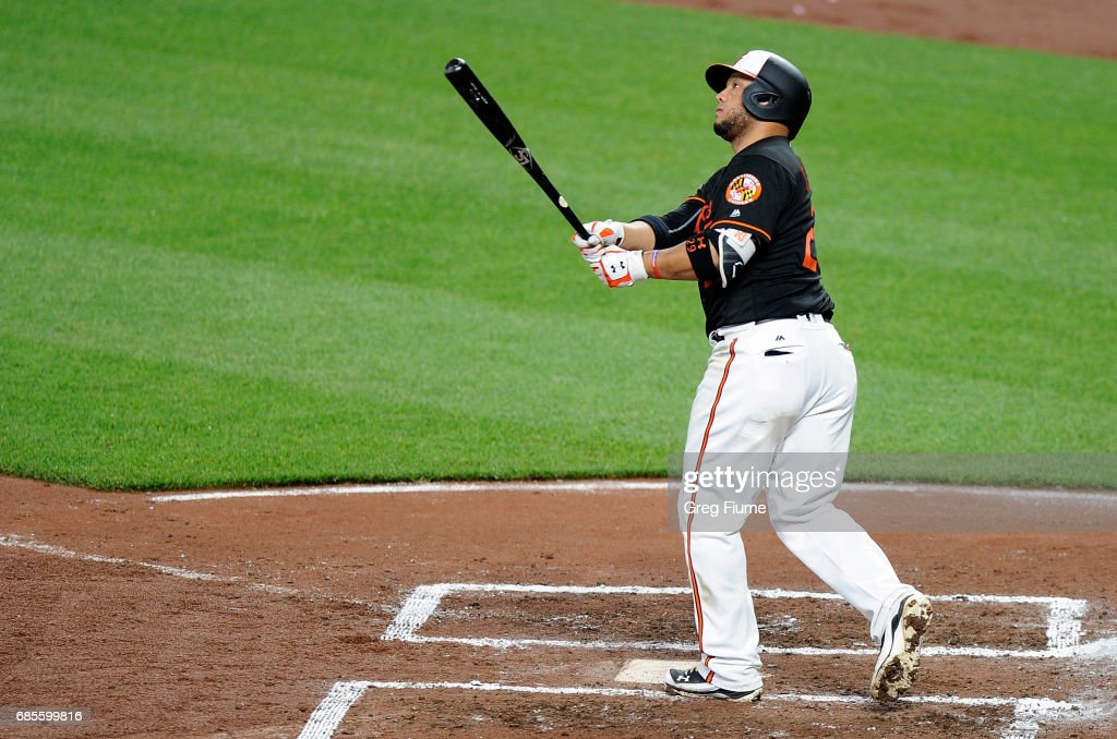 Welington Castillo #29 of the Baltimore Orioles hits the game winning home run in the 10th inning against the Toronto Blue Jays at Oriole Park at Camden Yards on May 19, 2017 in Baltimore, Maryland. Baltimore won the game 5-3.