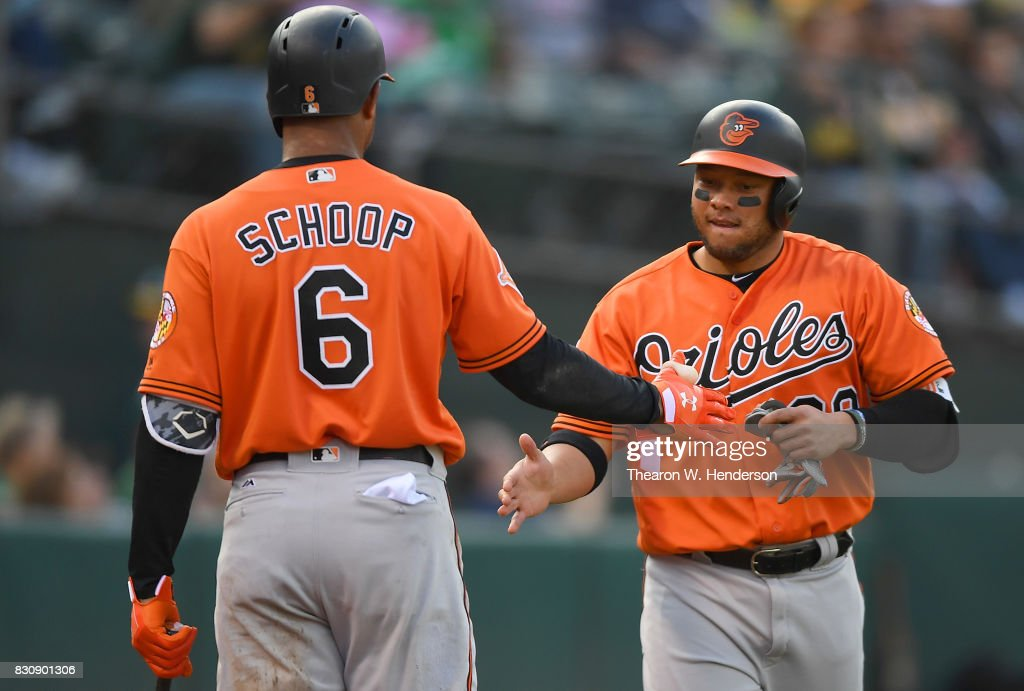 Welington Castillo #29 of the Baltimore Orioles is congratulated by Jonathan Schoop #6 after Castillo scored against the Oakland Athletics in the top of the first inning at Oakland Alameda Coliseum on August 12, 2017 in Oakland, California.