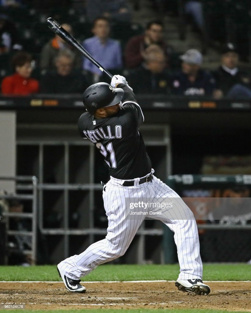 Welington Castillo #21 of the Chicago White Sox bats against the Baltimore Orioles at Guaranteed Rate Field on May 22, 2018 in Chicago, Illinois. The White Sox defeated the Orioles 3-2.