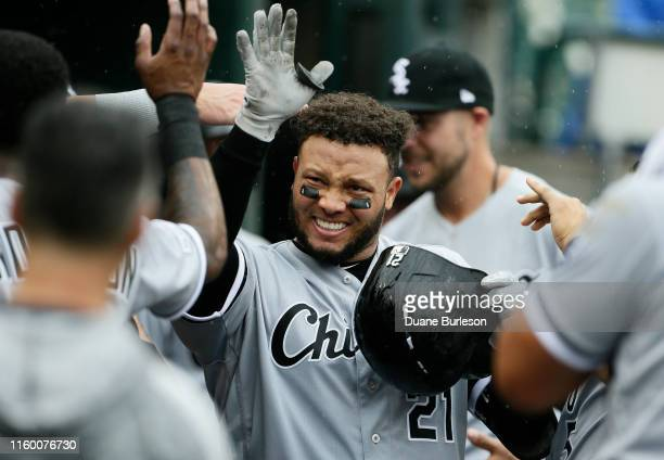 Welington Castillo of the Chicago White Sox celebrates his solo home run against the Detroit Tigers during the sixth inning of game one of a...
