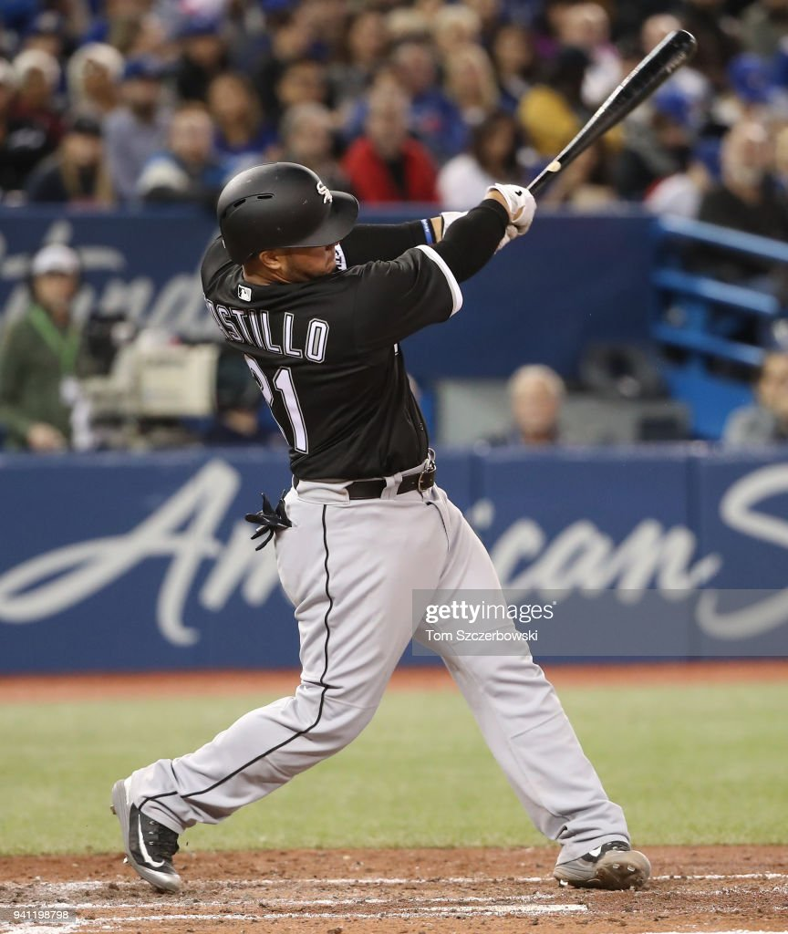 Welington Castillo #21 of the Chicago White Sox hits a solo home run in the fourth inning during MLB game action against the Toronto Blue Jays at Rogers Centre on April 2, 2018 in Toronto, Canada.