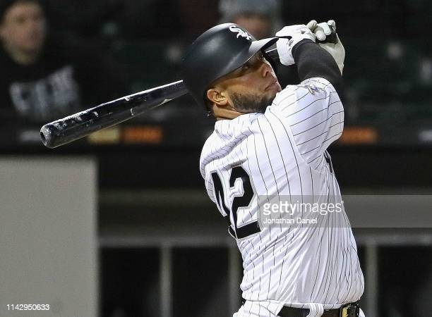 Welington Castillo of the Chicago White Sox hits the gamewinning two run home run in the 8th inning against the Kansas City Royals at Guaranteed Rate...