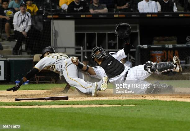 Welington Castillo of the Chicago White Sox tags out Gregory Polanco of the Pittsburgh Pirates at home plate during the second inning on May 8 2018...