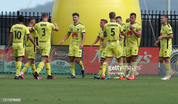 Welington Phoenix players celebrate a goal during the round 222 A-League match between the Central Coast Mariners and the Wellington Phoenix at...
