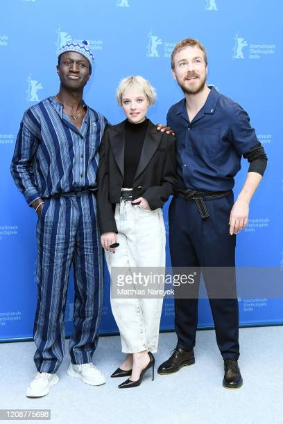 "Welket Bungue, Jella Haase and Albrecht Schuch pose at the ""Berlin Alexanderplatz"" photo call during the 70th Berlinale International Film Festival..."