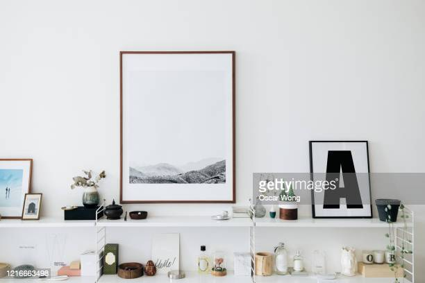 a well decorated and stylish shelving unit - artistic product stock pictures, royalty-free photos & images