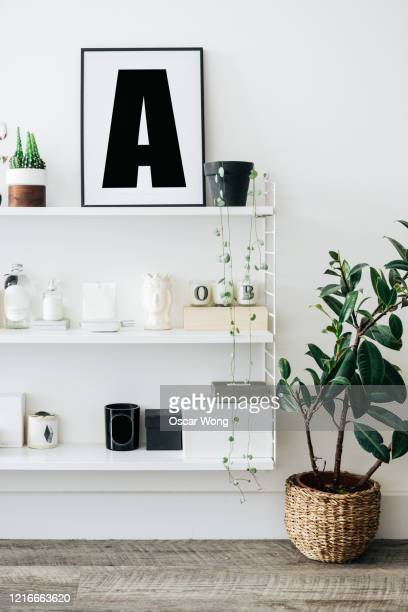 a well decorated and stylish shelving unit with plants - decor stock pictures, royalty-free photos & images