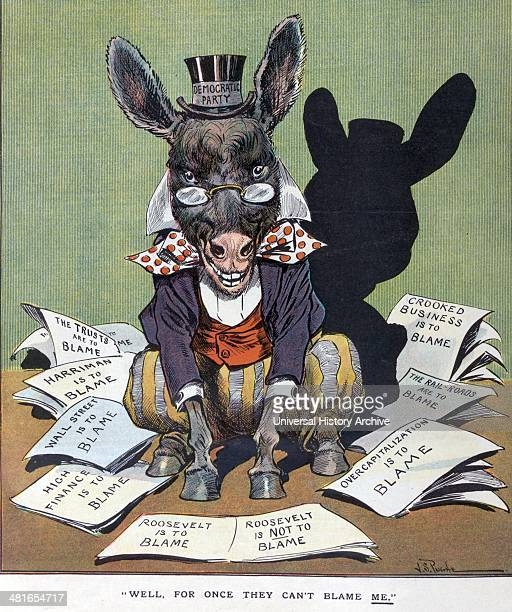 Well for once they can't blame me by JS Pughe 18701909 artist Published 1907 Illustration shows the Democratic donkey labelled Democratic Party...