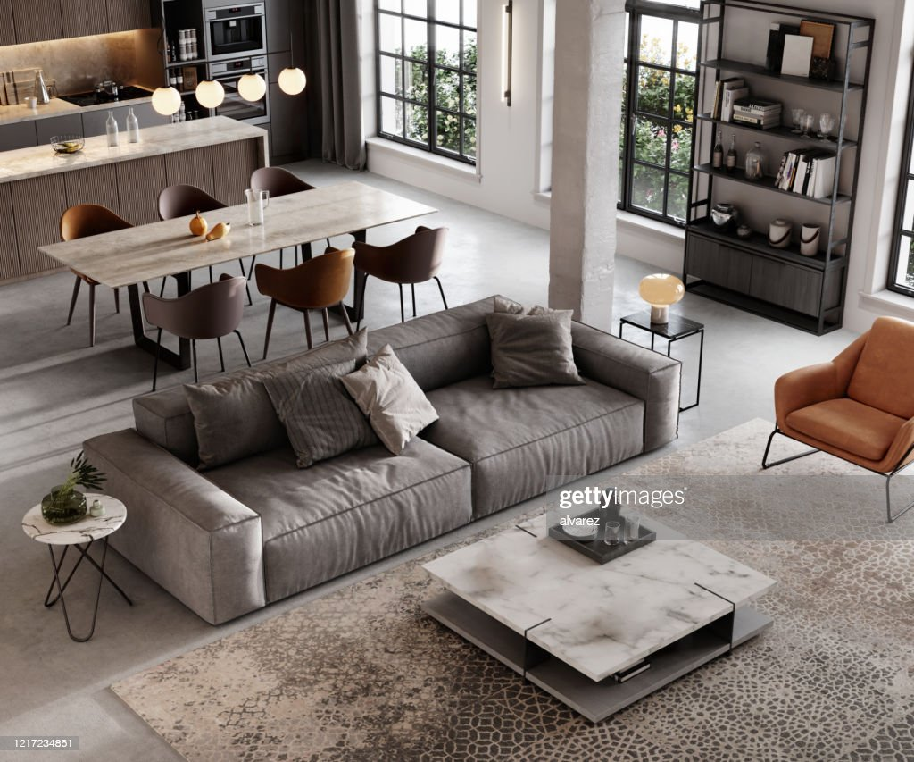 Rendering del soggiorno ben arredato : Foto stock