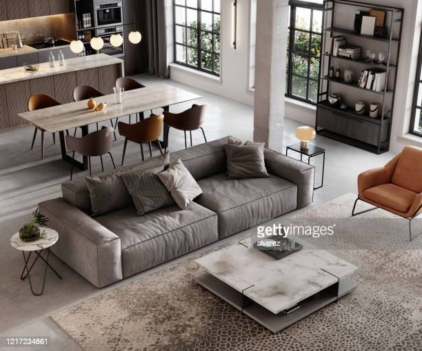 well furnished living room render - inside of stock pictures, royalty-free photos & images