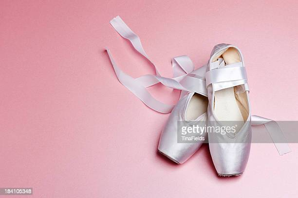 well loved ballet pointe shoes. - ballet dancer stock pictures, royalty-free photos & images