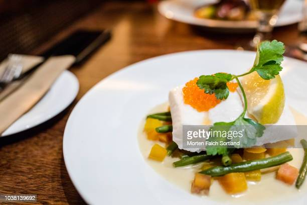 a well presented dish in a restaurant in bergen, norway wintertime - fevereiro imagens e fotografias de stock