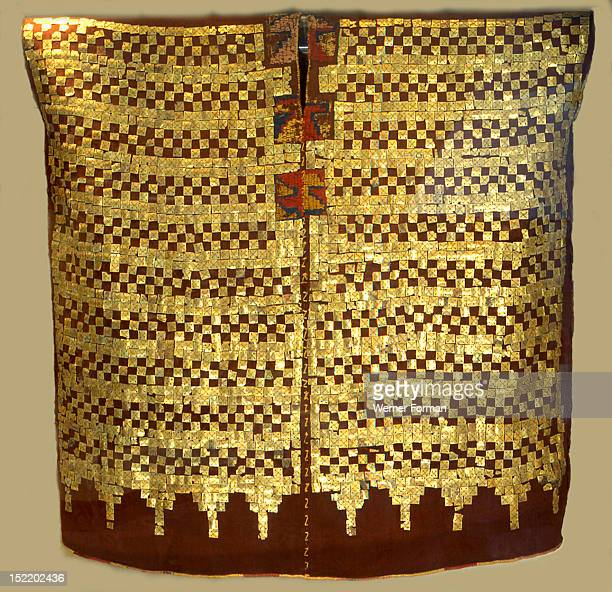 Well preserved tunic which belonged to a powerful nobleman from the south coastal Peruvian part of the Inca empire  It is composed of golden plaques...