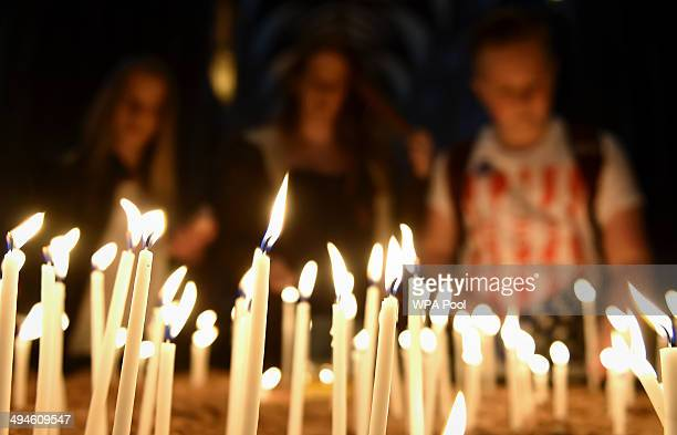 Well wishers light candles in memory of Stephen Sutton as his coffin lies in Lichfield Cathedral during a two day vigil in his memory on May 30 2014...