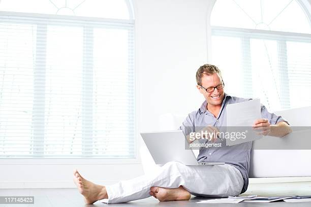 wellbeing man working at home