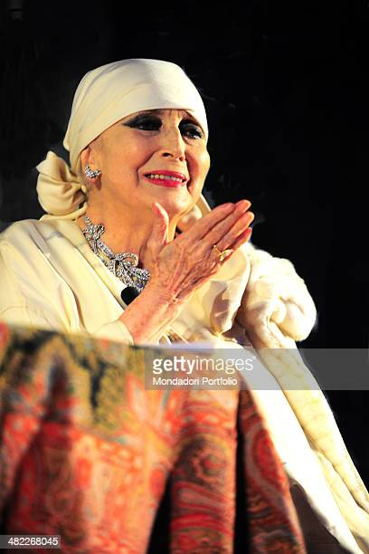 Welldressed Valentina Cortese wearing her typica headscarf makes a gesture to the audience during the interview issued to the journalists Antonio...