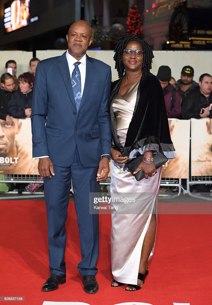 Wellesley Bolt and Jennifer Bolt attend the World Premiere of 'I Am Bolt' at Odeon Leicester Square on November 28, 2016 in London, England.