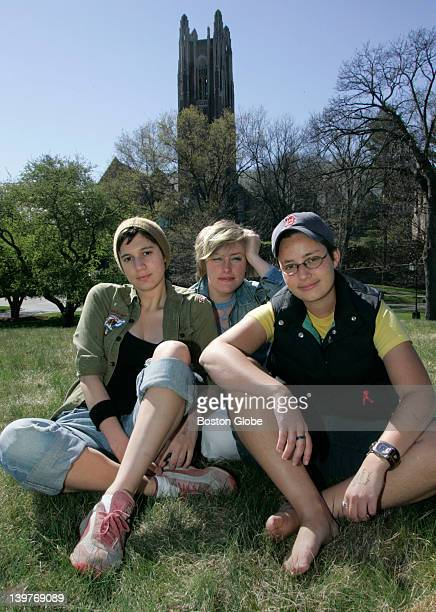 Wellesley College students from left to right Kate Recchia Justine Parker and Hadley Smith on campus The 3 were arrested by the Wellesley Police...