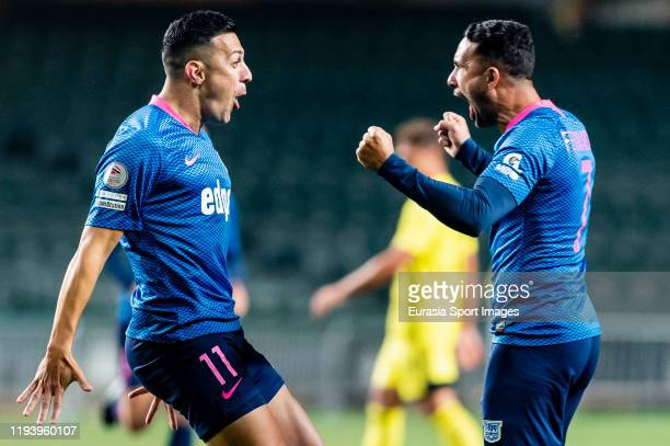 Wellingsson Paixao De Souza of Kitchee celebrates after scoring his goal with Fernando Augusto Azevedo Pedreira of Kitchee during the Hong Kong...