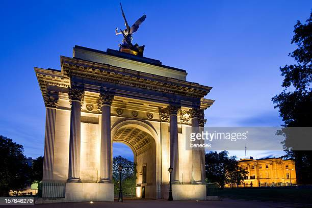 wellington arch, london, england, uk - hyde park london stock photos and pictures