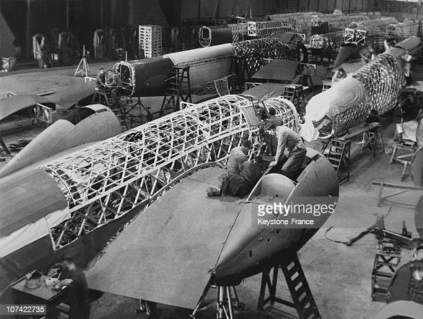 Wellington Bombers during production in the early months of World War II at the Vickers-Armstrongs factory at Brooklands in Weybridge, Surrey,...