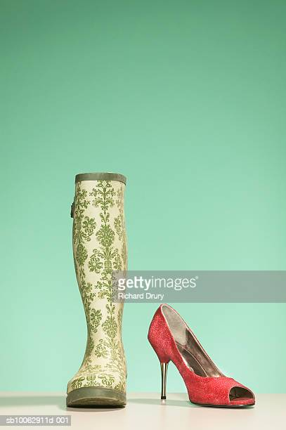 Wellington boot and glamorous shoe, studio shot