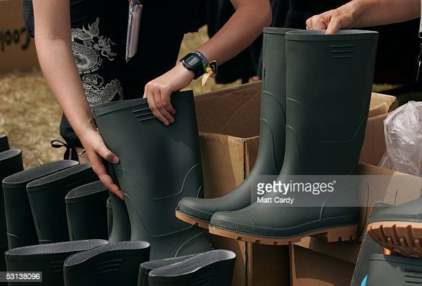 Wellington boots go on sale at the Glastonbury festival on June 23 2005 in Glastonbury England The festival will run from June 24 26 June and is...