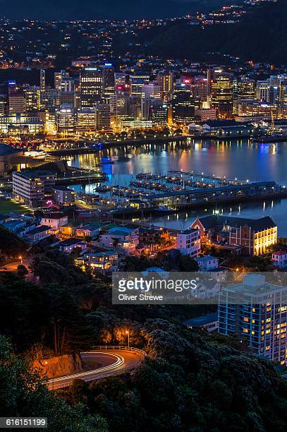 wellington by night - wellington new zealand stock pictures, royalty-free photos & images