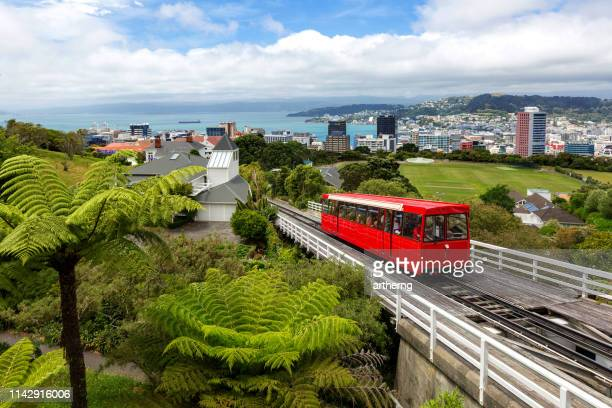wellington cable car and cityscape, north island, new zealand - wellington new zealand stock pictures, royalty-free photos & images