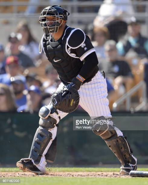 Wellington Castillo of the Chicago White Sox catches against the Los Angeles Dodgers on March 2 2018 at Camelback Ranch in Glendale Arizona