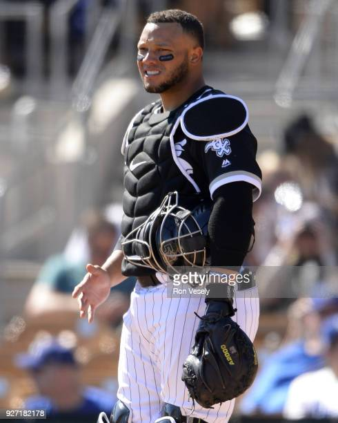 Wellington Castillo of the Chicago White Sox looks on against the Los Angeles Dodgers on March 2 2018 at Camelback Ranch in Glendale Arizona