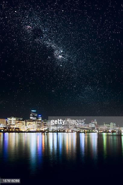 wellington city under stars - wellington new zealand stock photos and pictures