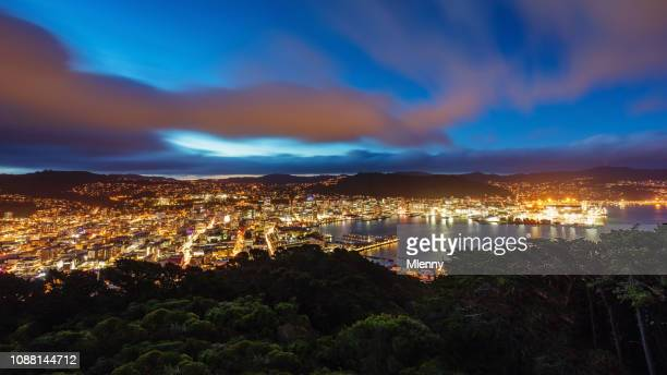 wellington cityscape at night panorama new zealand - wellington new zealand stock photos and pictures
