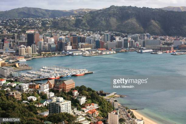 wellington harbour and city - wellington new zealand stock photos and pictures