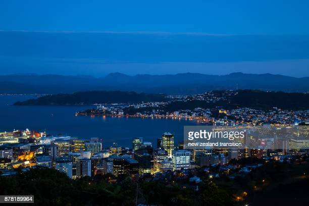 wellington harbour at blue hour, nz - wellington new zealand stock photos and pictures
