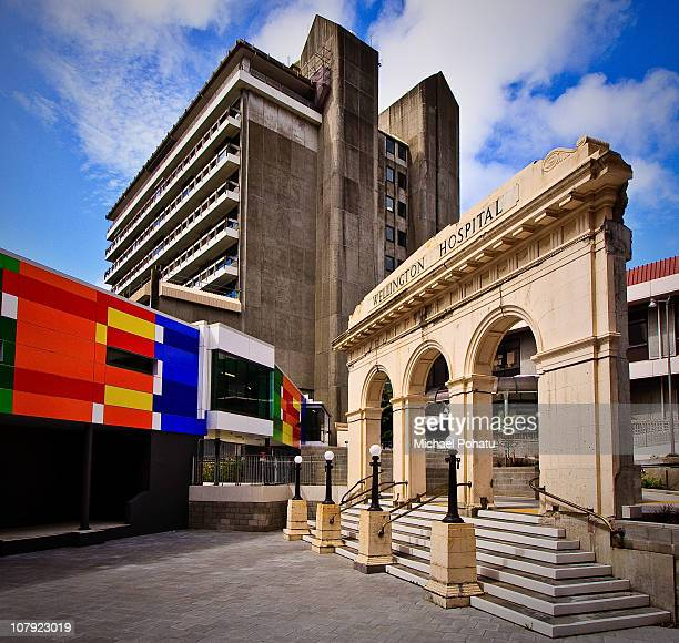 Wellington Hospital's Grace Neil Block with the facade of the old Wellington Hospital main building in the foreground
