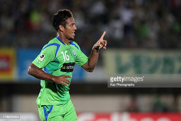 Wellington Luis de Souza of Shonan Bellmare celebrates scoring his team's third goal during the JLeague match between Shonan Bellmare and Vegalta...