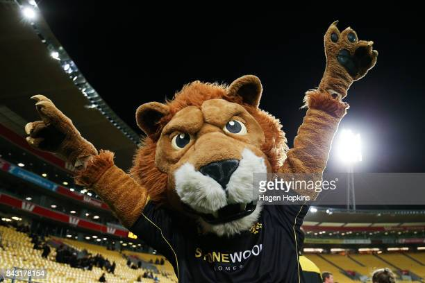 Wellington mascot Leo the Lion during the round four Mitre 10 Cup match between Wellington and Hawke's Bay at Westpac Stadium on September 6 2017 in...