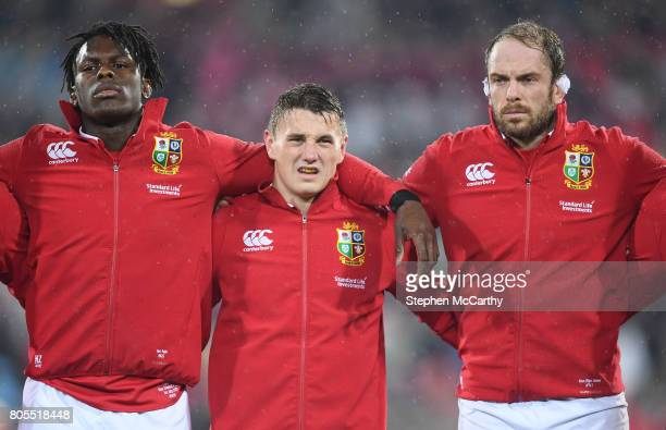 Wellington New Zealand 1 July 2017 British and Irish Lions players from left Maro Itoje Jonathan Davies and Alun Wyn Jones during the Second Test...