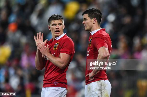 Wellington New Zealand 1 July 2017 Owen Farrell left and Jonathan Sexton of the British Irish Lions during the Second Test match between New Zealand...