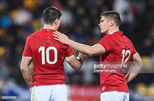 Wellington New Zealand 1 July 2017 Owen Farrell right and Jonathan Sexton of the British Irish Lions during the Second Test match between New Zealand...