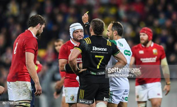 Wellington New Zealand 27 June 2017 Iain Henderson of the British Irish Lions receives a yellow card from referee Romain Poite during the match...