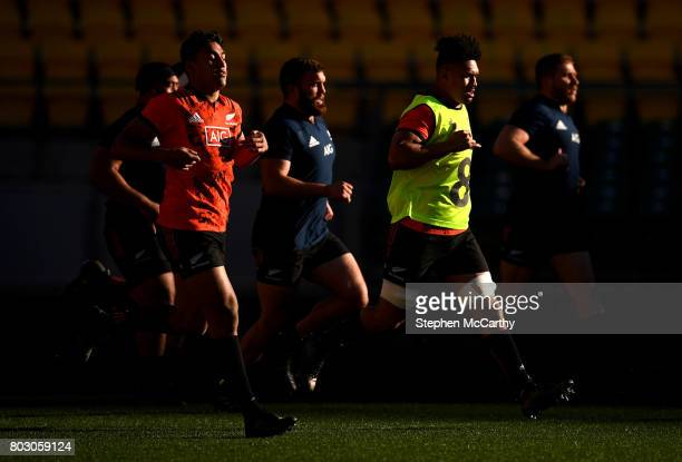 Wellington New Zealand 29 June 2017 Ardie Savea and Rieko Ioane left during a New Zealand All Blacks training session at Westpac Stadium in...