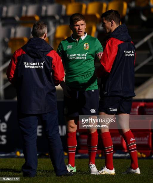 Wellington New Zealand 29 June 2017 Jonathan Sexton right Owen Farrell and attack coach Rob Howley left during a British and Irish Lions training...