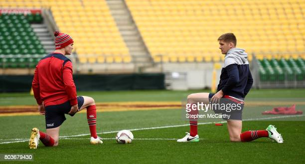 Wellington New Zealand 30 June 2017 Jonathan Sexton left and Owen Farrell of the British Irish Lions during their captain's run at Westpac Stadium in...