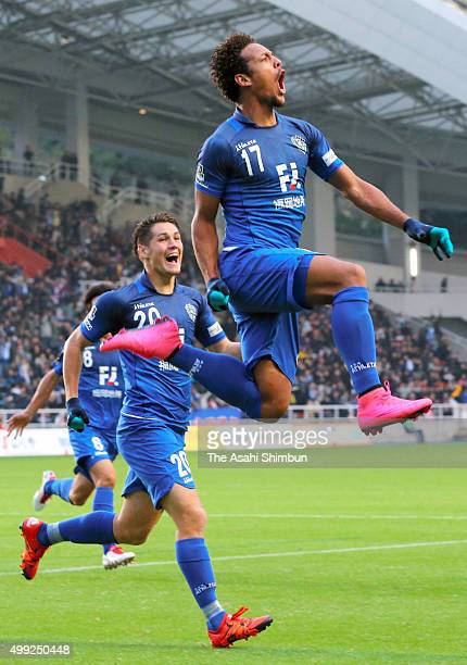 Wellington of Avispa Fukuoka celebrates scoring his team's first goal during the JLeague J1 Promotion playoff semifinal match between Avispa Fukuoka...