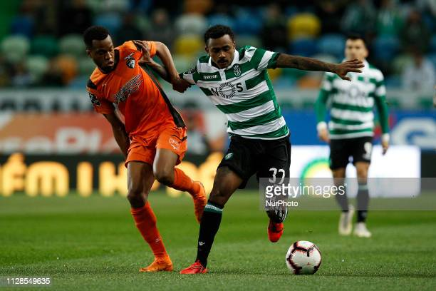 Wellington of Portimonense vies for the ball with Wendel of Sporting during Primeira Liga 2018/19 match between Sporting CP vs Portimonense SC, in...